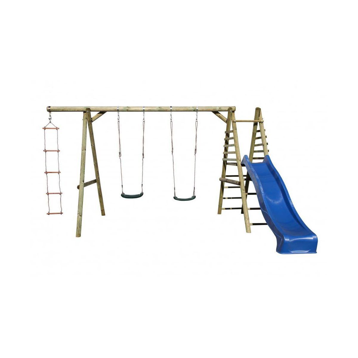 Detská zostava / Detské ihrisko - hojdačka, šmykľavka, rebrík